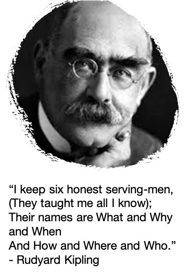 """""""I keep six honest serving-men, (They taught me all I know); Their names are What and Why and When And How and Where and Who."""""""