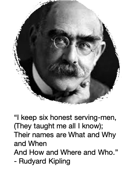 """""""I keep six honest serving-men (They taught me all I knew); Their names are What and Why and When And How and Where and Who."""" [Rudyard Kipling]"""